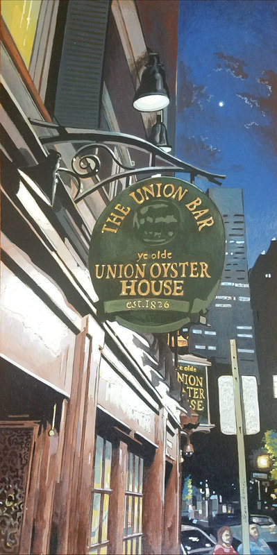 Union Oyster House nightlife Boston cityscape painting created with Minwax wood stain by Sean Carney