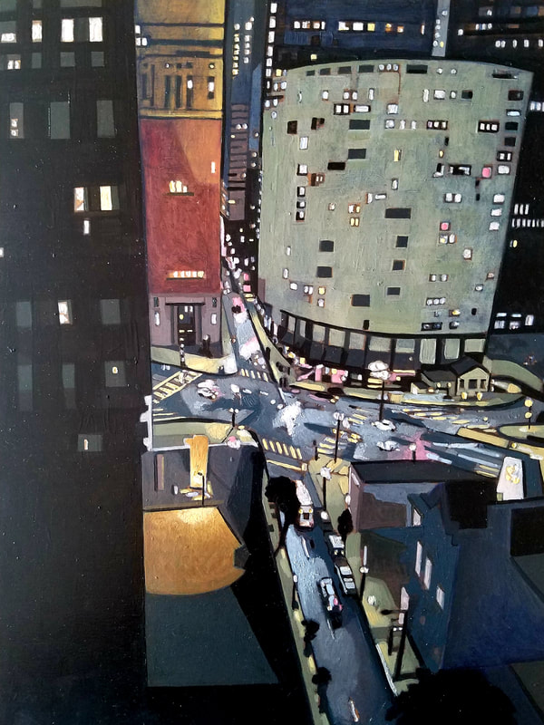 Philadelphia nightlife cityscape painting created with Minwax wood stain by Sean Carney