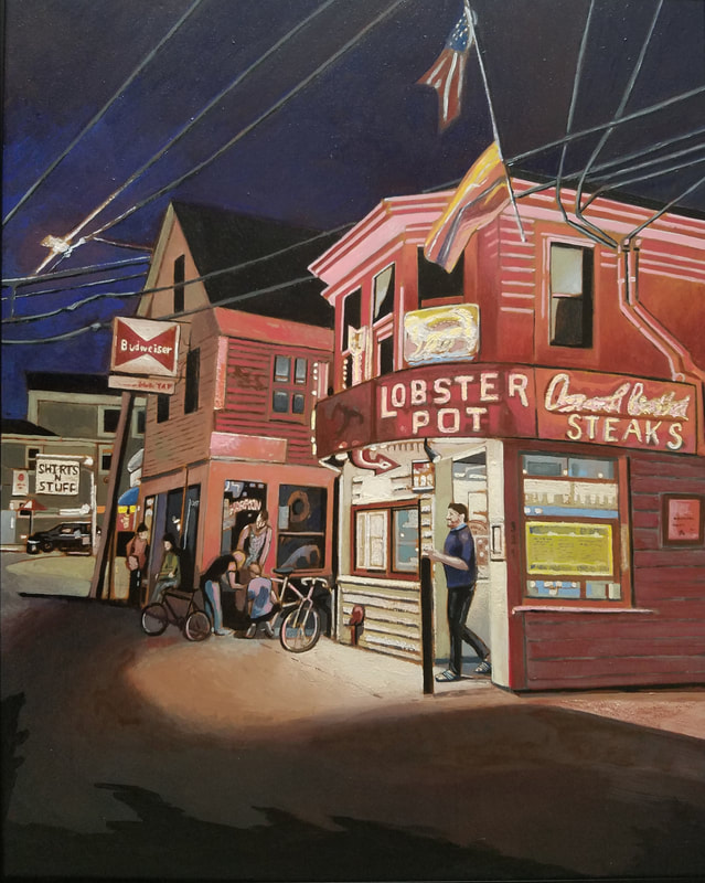 Lobster Pot Provincetown nightlife cityscape painting created with Minwax wood stain by Sean Carney
