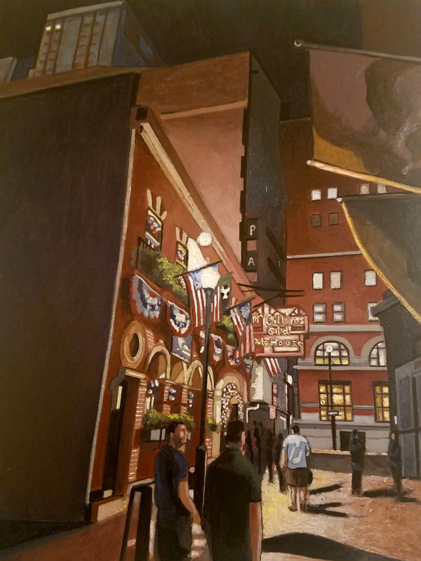 Philadelphia McGillian's Old Ale House nightlife cityscape painting created with Minwax wood stain by Sean Carney