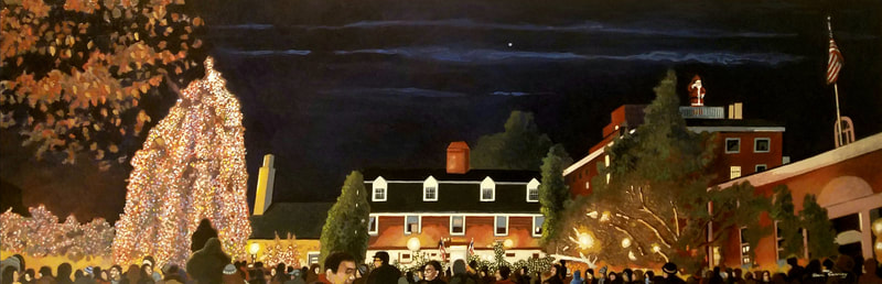 Princeton Nassau Inn nightlife cityscape painting created with Minwax wood stain by Sean Carney