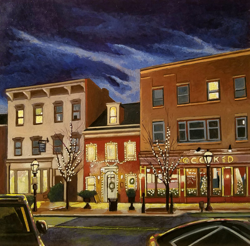 Hotel Bethlehem nightlife cityscape painting created with Minwax wood stain by Sean Carney