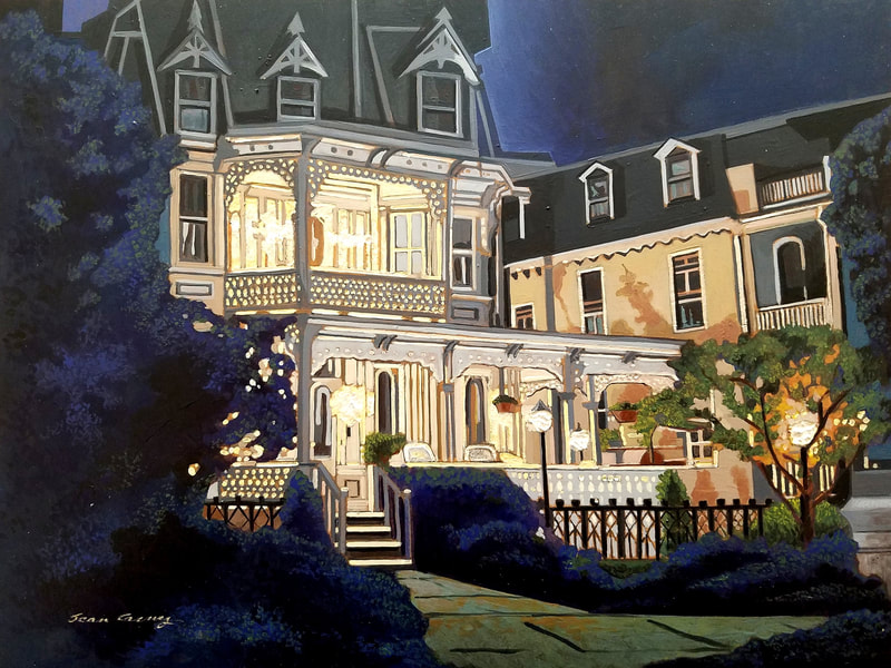 Cape May nightlife cityscape painting created with Minwax wood stain by Sean Carney