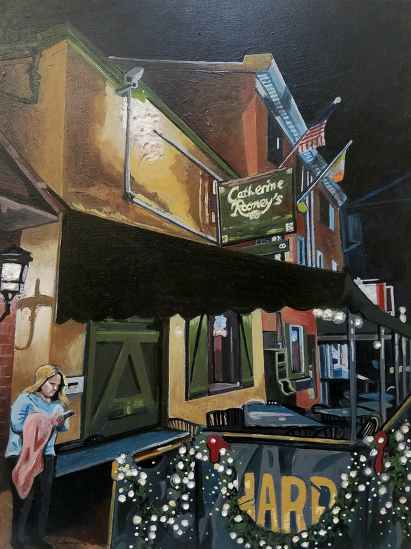 Trolley Square Catherine Rooney's nightlife cityscape painting created with Minwax wood stain by Sean Carney