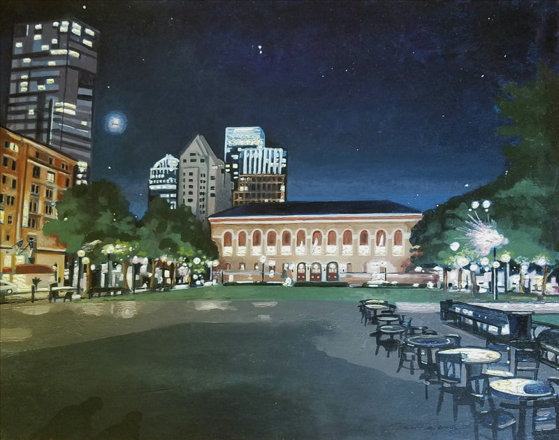 Boston nightlife cityscape painting created with Minwax wood stain by Sean Carney