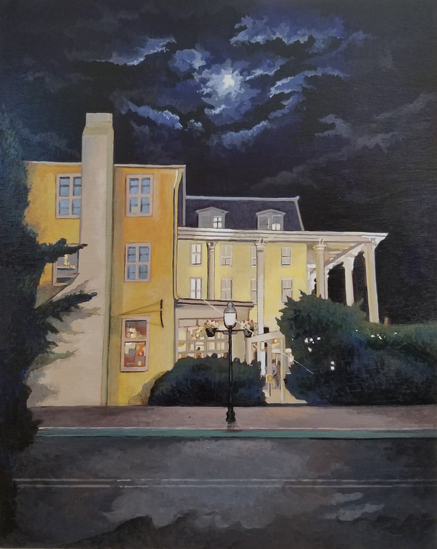 Congress Hall Cape May nightlife cityscape painting created with Minwax wood stain by Sean Carney