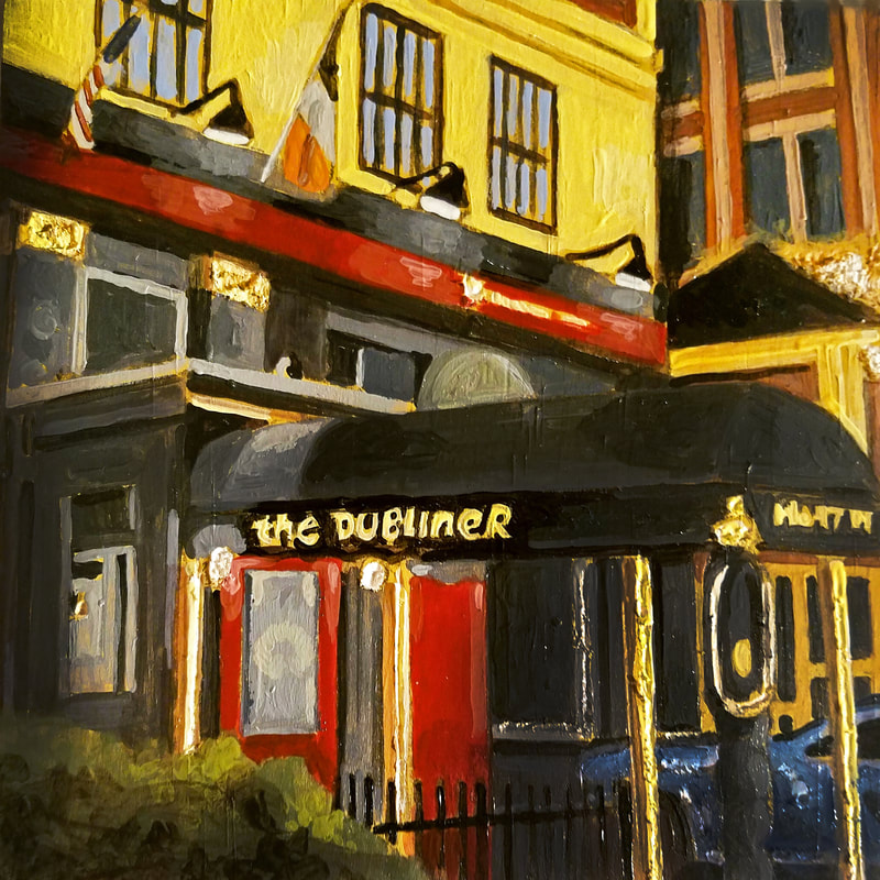Washington D.C. The Dubliner nightlife cityscape painting created with Minwax wood stain by Sean Carney