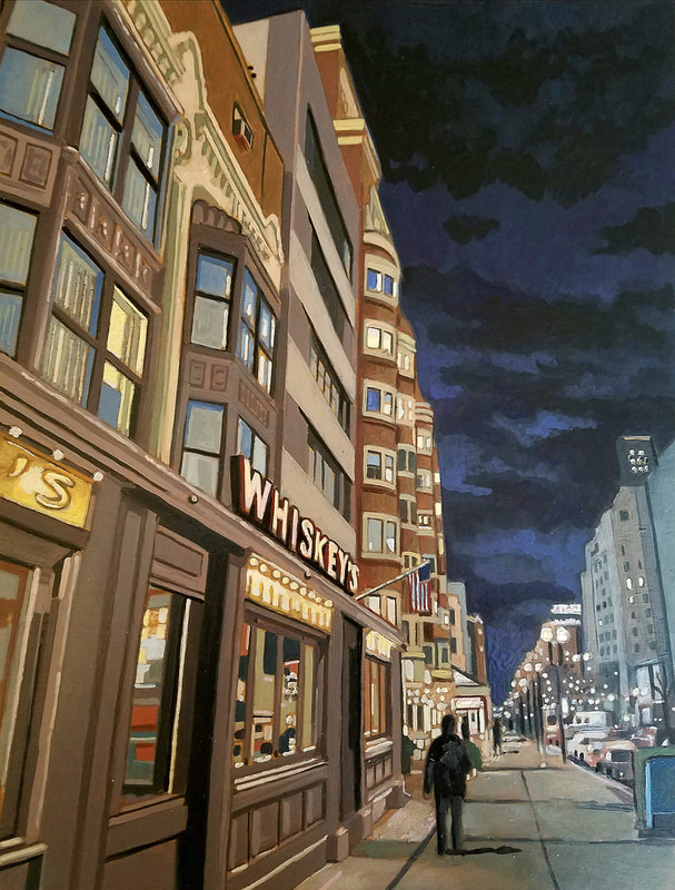 Boston Whiskey's nightlife cityscape painting created with Minwax wood stain by Sean Carney